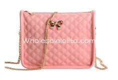 Sweet Pink Diamond Check Bow Lolita Bag Girls Chain Messenger Bag