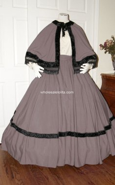 Taupe Civil War Reenactment Dickens Victorian Period Dress Christmas Carol Costume