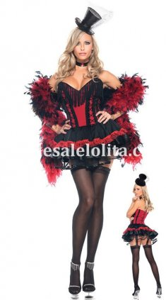 Sexy Noble Black and Red Party Queen Vampire Hallowen Costume