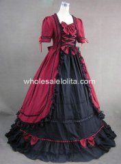 Gothic Red & Black Victorian Period Dress Masquerade Ball Themed Costume