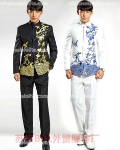 High-end Customized Black/White Mens Suits Medieval Mens Cosplay Costume