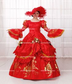 Rococo Style Marie Antoinette Inspired Prom Dress Wedding Quinceanera Ball Gown Red/Historically Themed Events