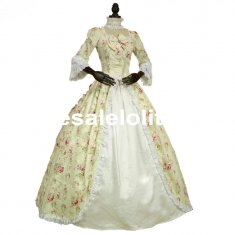 Renaissance Colonial Gothic Period Dress Floral Print Gown Reenactment Clothing