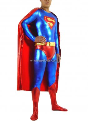 Blue and Red Glueing Superhero Costume With Cape