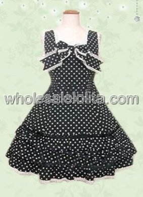 Clean Cut Polka Dot Black Sweet Lolita Dress