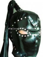 Latex Coatume Hood Mask with Pony Tial Open Eyes Face Rivet