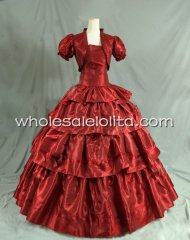 Civil War Purplish Red Victorian Tube Prom Dress Reenactment Ball Gown with Jacket
