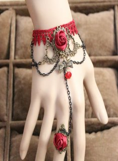 Gothic Red Crystal Flower Lace Lolita Bracelet