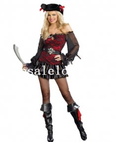Pirates of the Caribbean Gothic Women Pirate Halloween Costume