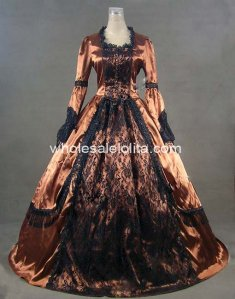 18th Century Champagne Satin Black Lace Overlay Gothic Marie Antoinette Period Dress Renaissance Performance Clothing