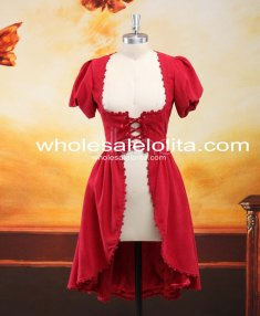 Classical Red Drawstring Short Sleeves Lolita One-Piece