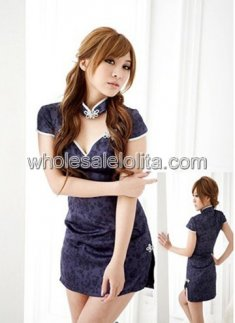 Blue Traditional Chinese Cheongsam Dress