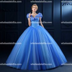 Top Sale Blue Organza Princess Dress Ball Gown Cinderella Dress