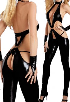 New Sexy Black Lingeries PVC Catsuit