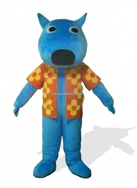 Hot Sale Blue Adult Dog Mascot Costume