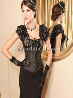 Black A-line Strapless Overbust Corset
