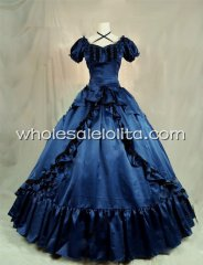 1850s Victorian Navy Blue Satin Civil War Southern Belle Prom Dress Ball Gown