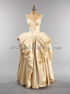 1951 American Culture Silk Draping Ball Gown