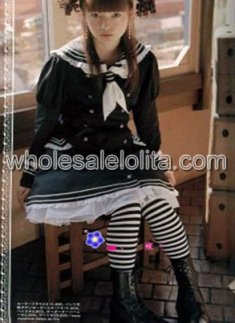 Black Long Sleeves Cotton Sailor Lolita Dress