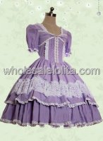 Grape Short Sleeves Lace Cotton Sweet Lolita Dress