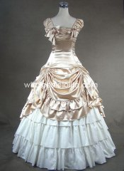 Champagne Southern Belle Victorian Period Dress Ball Gown Reenactment Theatre Outfit