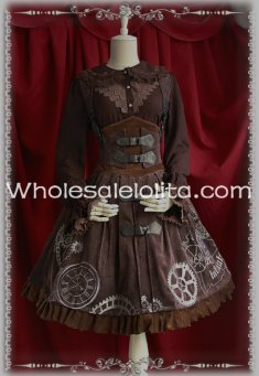 New Steampunk Reverse Time Machine Corset JSK Lolita Dress