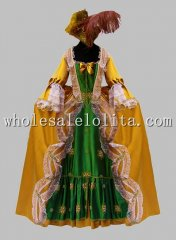Deluxe Yellow and Green Marie Antoinette Victorian Era Dress Venice Carnival Costume