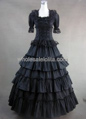 Victorian Gothic Black Long Lolita Cotton Dress Ball Gown Prom Reenactment