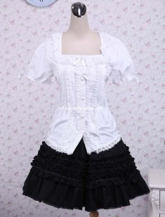 Cotton White Lolita Blouse And Black Lace Classic Lolita Skirt New