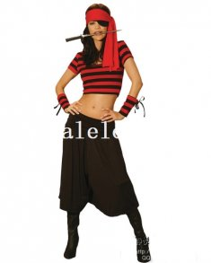 Halloween Black and Red Cool Lady Pirate Costume
