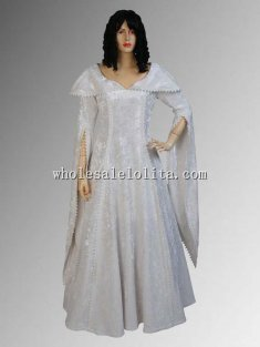 17th Century White Renaissance Noblewoman's Dress in Crushed Velvet Multiple Colors Available