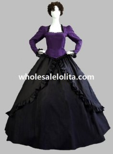 2 Pieces Black and Purple Gothic Victorian Ball Gown Theatre Costume Dress