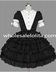 Black and White Ruffled Gothic Lolita Dress Clothings
