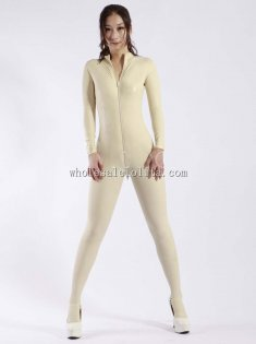 Fashion White Zipper Women's Latex Catsuits