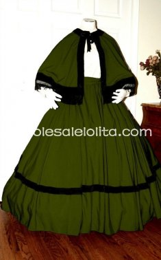 Olive Green Civil War Reenactment Dickens Victorian Period Dress Christmas Carol Costume