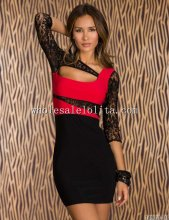 Black and Red 3/4 Lace Sleeves Bodycon Dress