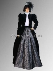 Custom Made Black and Silver Victorian or Edwardian Style Dress Handmade with Jacket and Skirt