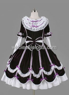 Dark Red and White Long Sleeves Sash Bow Cotton Lolita Dress