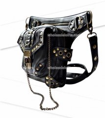 Personality Women/Men Black Leather Steampunk Mini Waistbag Motorcycle Leg Thigh Holster Bag Crossbody Bag