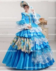 Vintage Marie Antoinette Inspired Prom Dress Wedding Quinceanera Ball Gown BLUE