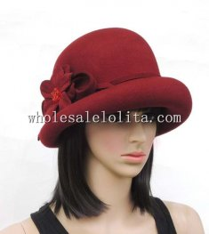 Retro British Wool Women's Bowler Hat for Winter