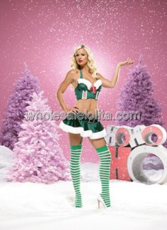 Christmas Sexy Elf Costume with Green Bustier and Skirt