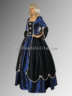 Handmade Blue and Black Gothic or Renaissance Style Dress Multiple Colors Available