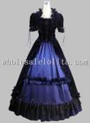 Well Made 2 Pices Blue and Black Gothic Victorian Prom Dress Historical Theatre Costume