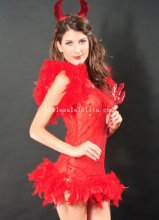 Seduce Red Adult Devil Halloween Costume Masquerade Party Dress