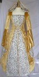 Gold Medieval Wedding Dress Goth Renaissance Hooded Pagan Dresses