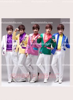 White/Pink/Green/Yellow/Sky Blue/Blue/Purple Piece Prince Suits Mens Party Costume