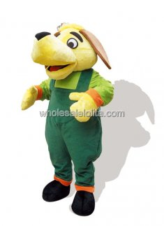 Green And Yellow Plush Adult Dog Mascot Costume