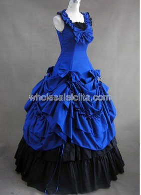Gothic Royal Blue and Black Civil War Southern Belle Lolita Ball Gown Dress