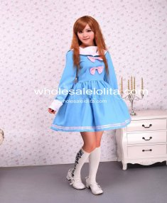 Cotton Blue Bow Long Sleeves Sailor School Lolita Dress